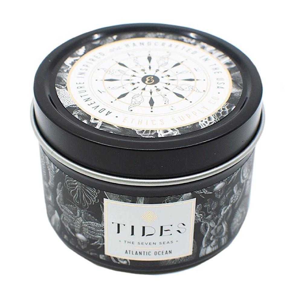 Ethics Supply Co. Travel Candle - TIDES - Seven Seas - Atlantic Ocean - 3.8oz