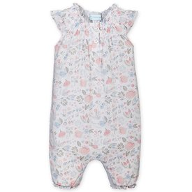 Feather Baby Feather Baby Angel-Sleeve Romper - Caroline Floral on White
