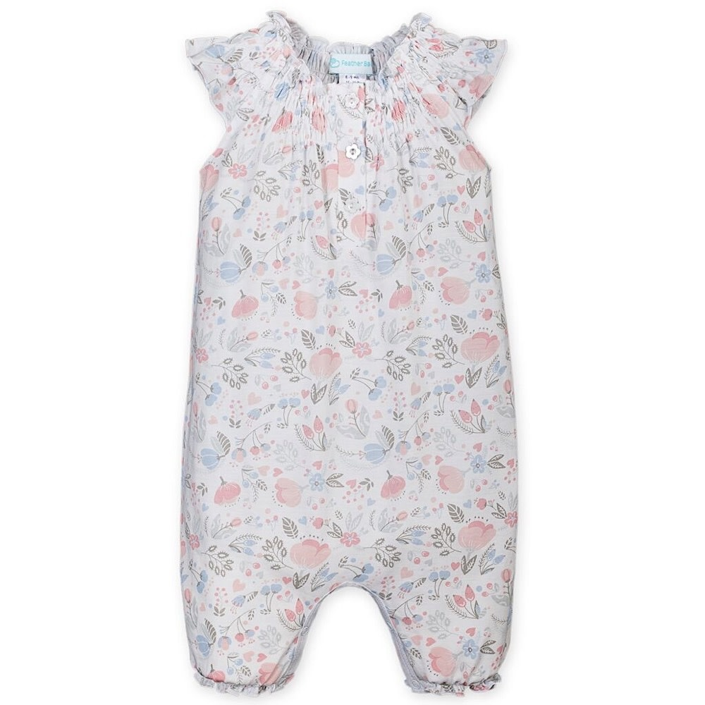 Feather Baby Angel-Sleeve Romper - Caroline Floral on White