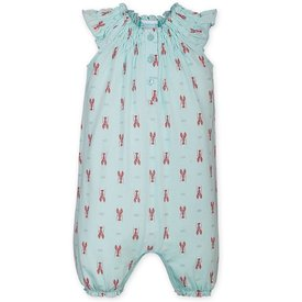 Feather Baby Feather Baby Angel-Sleeve Romper - Lobsters on Aqua