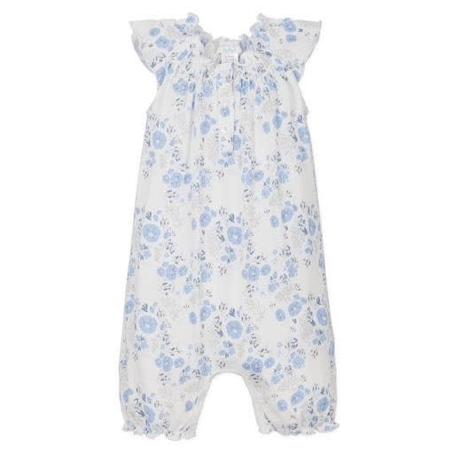 Feather Baby Angel-Sleeve Romper - Maria on White