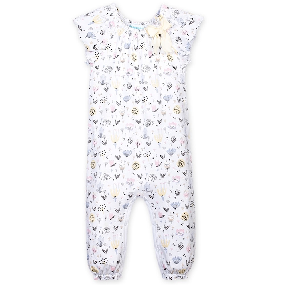 Feather Baby Bow Romper - Kim Floral on White