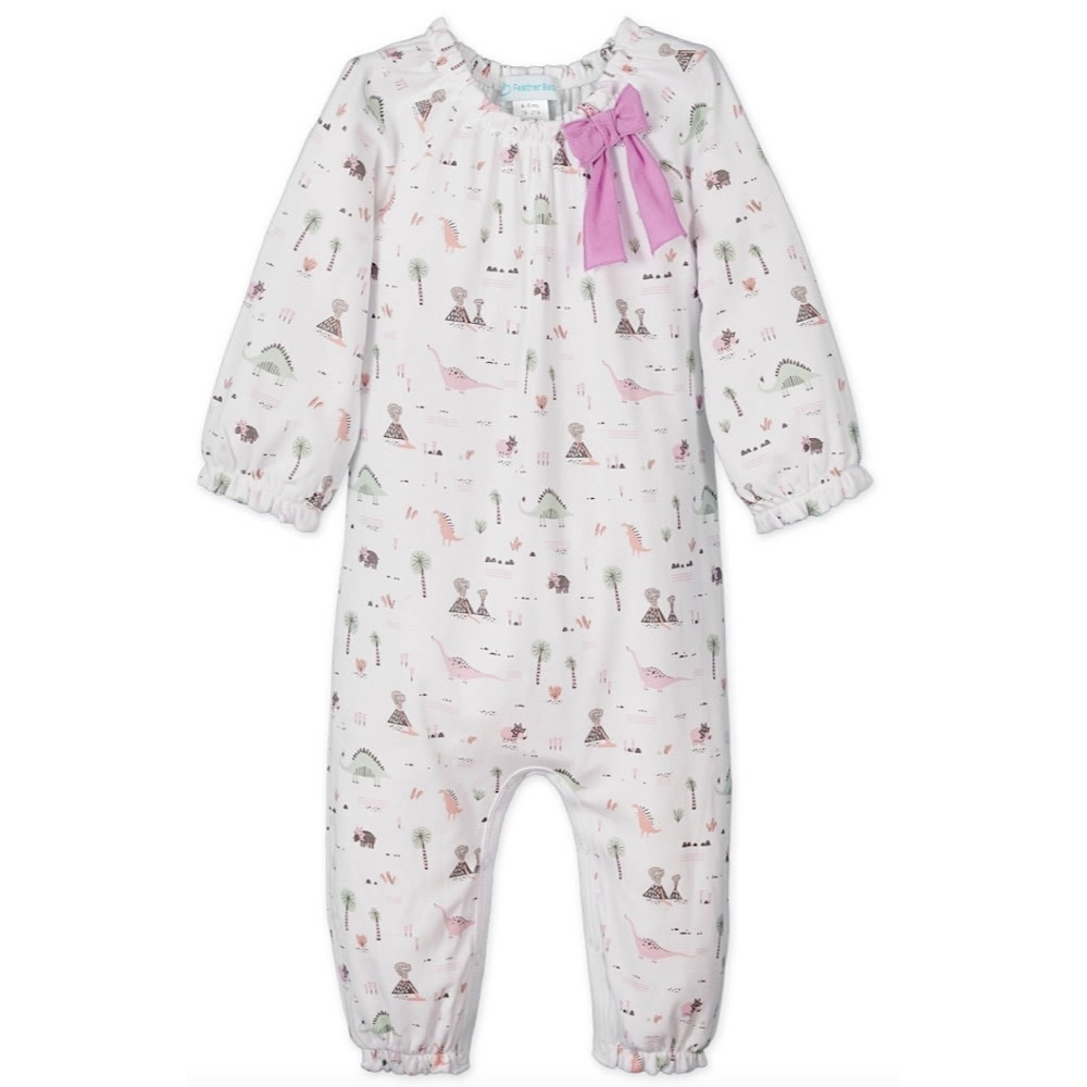 Feather Baby Bow Romper - Dinosaurs on White