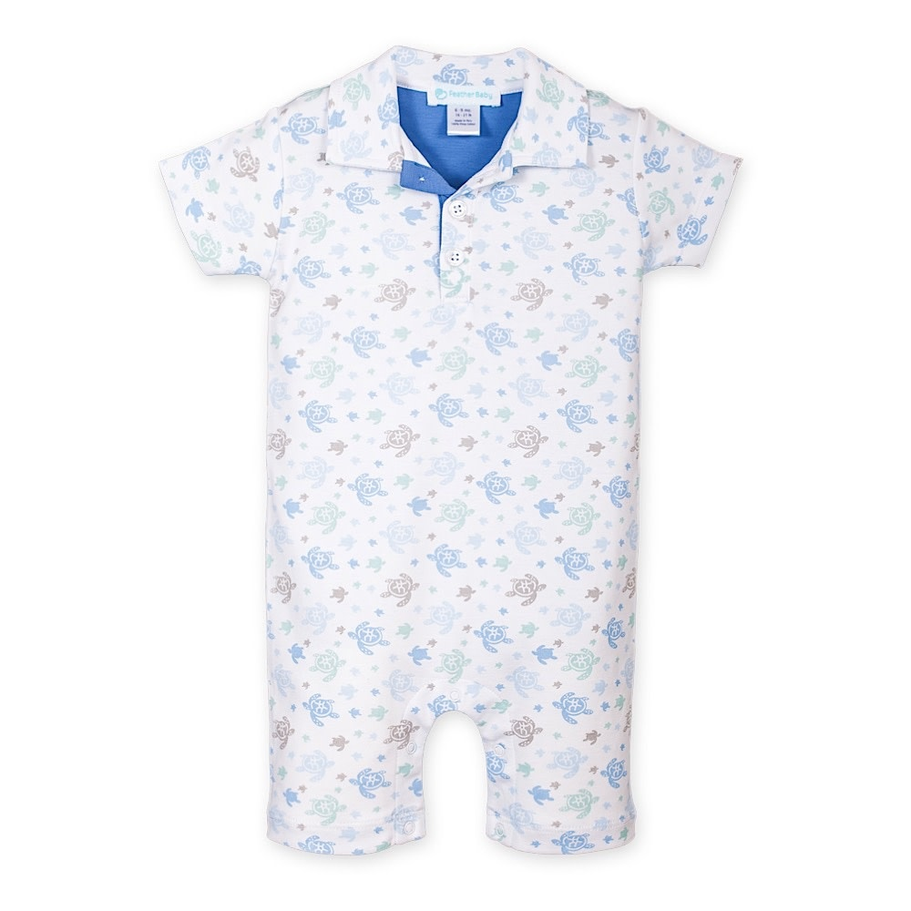 Feather Baby Collared Romper - Sea Turtles on White