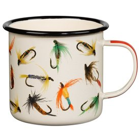 Wild & Wolf Enamel Mug Fly Fishing - Cream