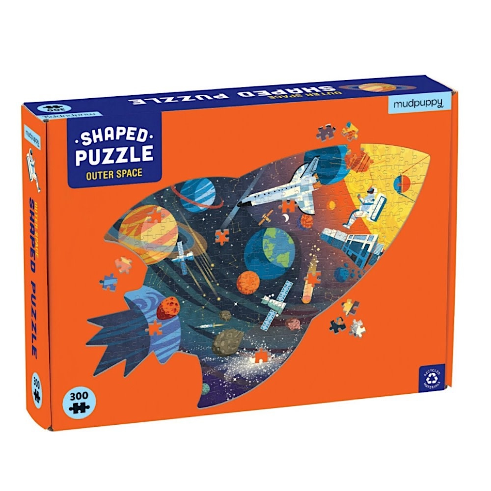 Galison Mudpuppy Outer Space Shaped Jigsaw Puzzle - 300 Pieces