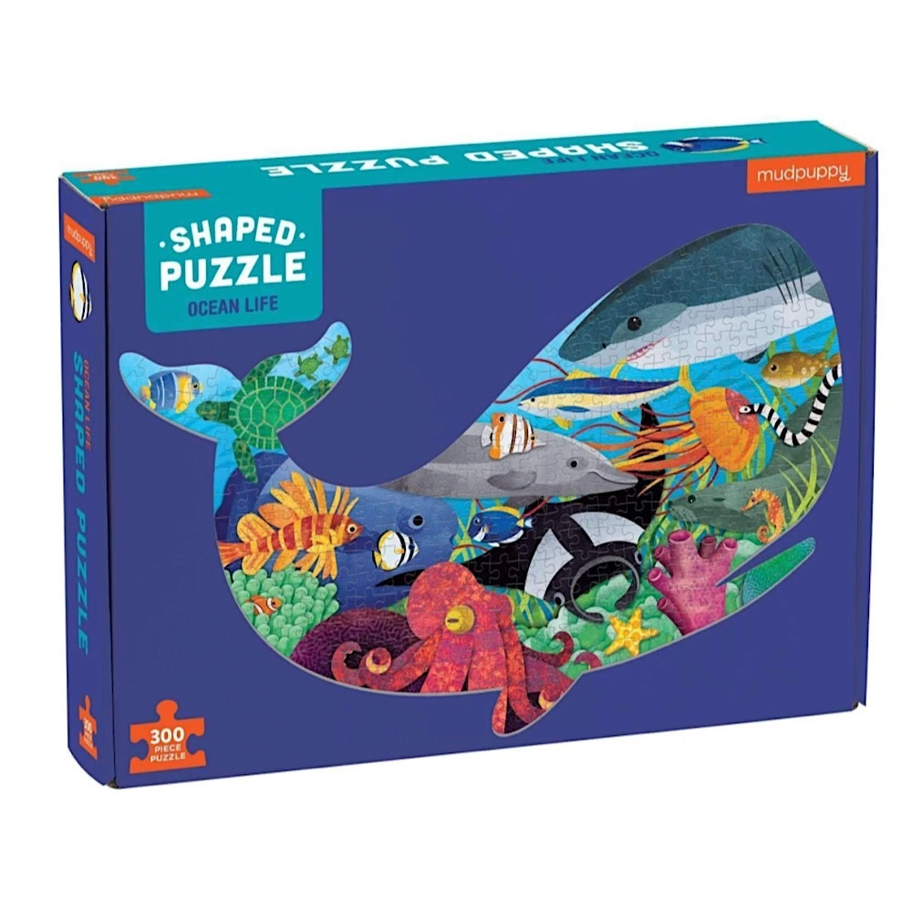 Galison Mudpuppy Ocean Life Shaped Jigsaw Puzzle - 300 Pieces