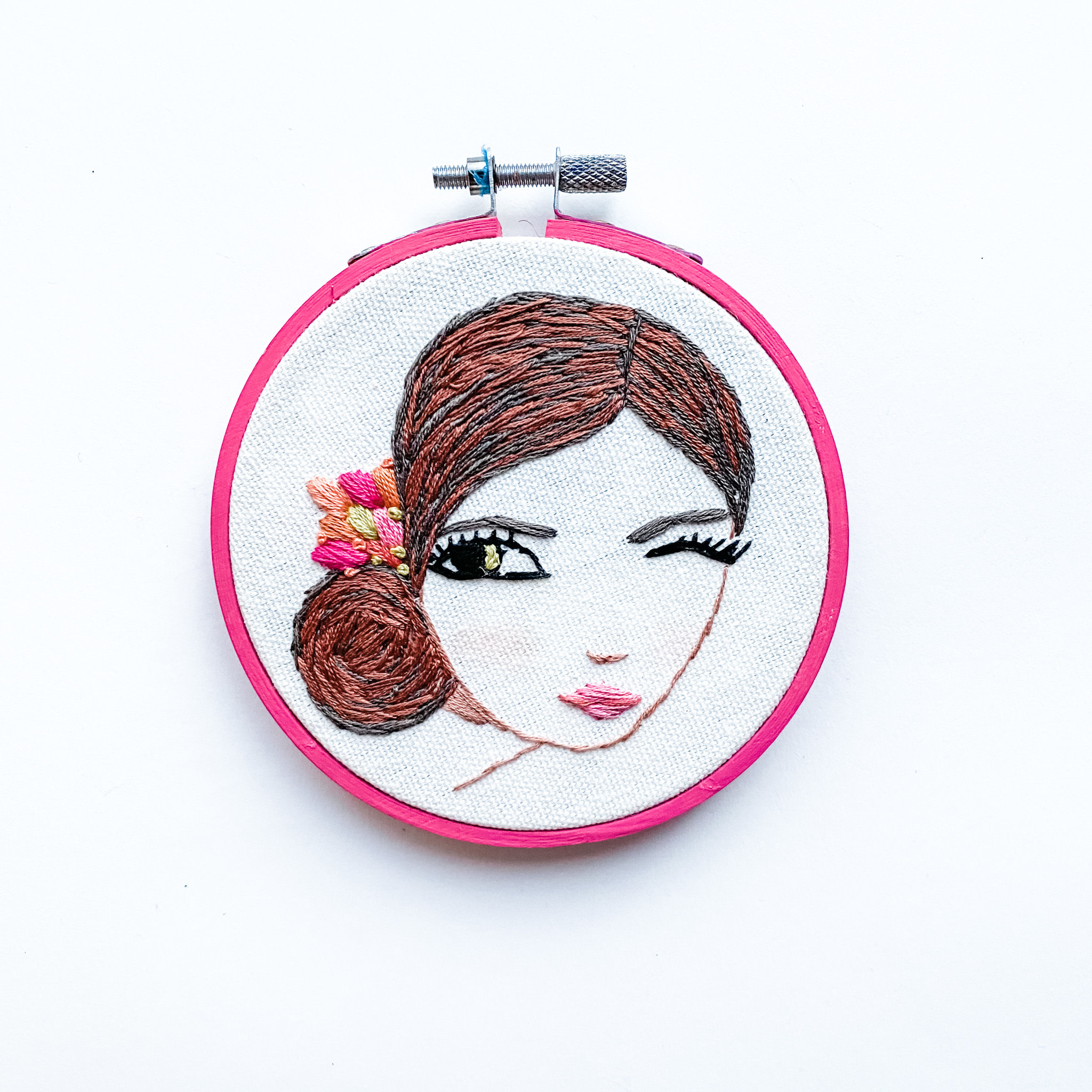 """Stitched On Langsford Embroidered Hoop 4"""" - Wink"""