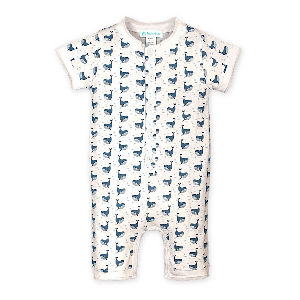Feather Baby Henley Romper - Fin Whale on White