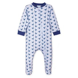 Feather Baby Feather Baby Zipper Footie - Fin Whale on Baby Blue
