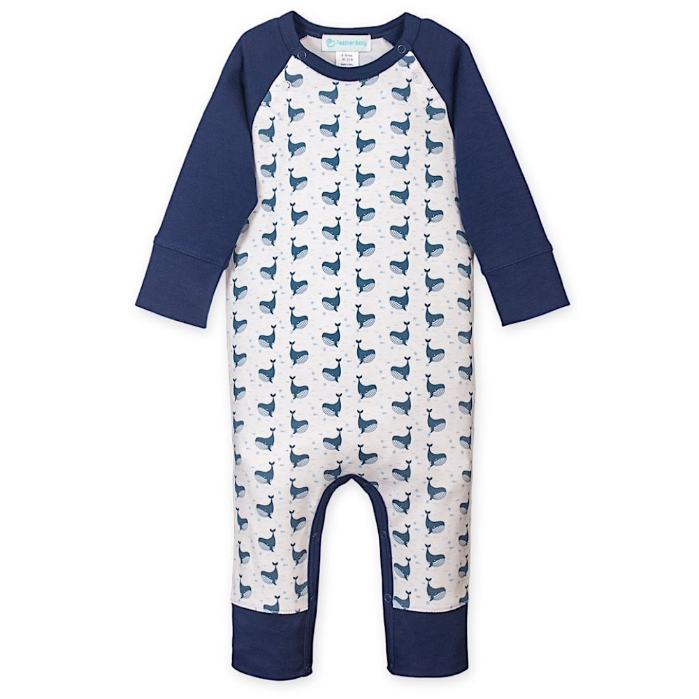 Feather Baby Feather Baby Long Sleeve Sailor Sleeve Romper - Fin Whale on White