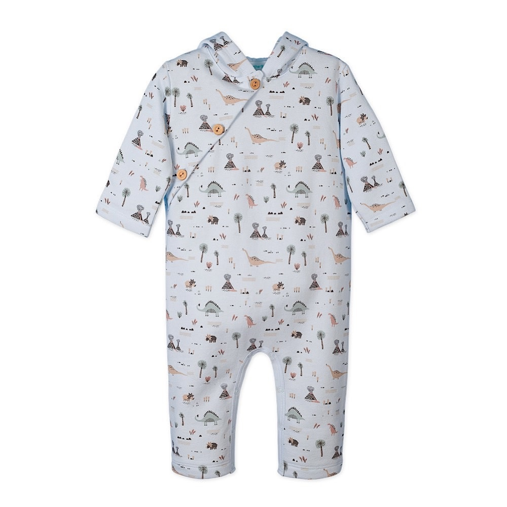 Feather Baby Feather Baby Fleece Hoody Romper - Dinosaurs on Baby Blue