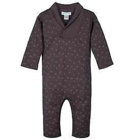 Feather Baby Feather Baby Shawl-Neck Romper - Tiny Airplanes on Charcoal