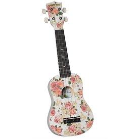 Saga Musical Instruments Diamond Head Ukulele - Vintage Series White Floral