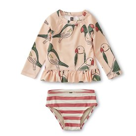 Tea Collection Ruffle Rash Guard Set - Parakeets