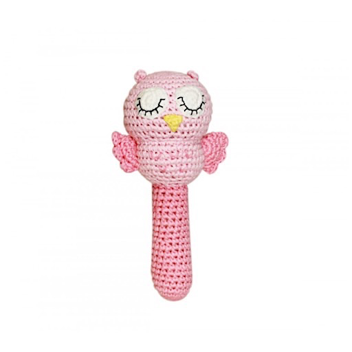 Knit Owl Rattle - Pink