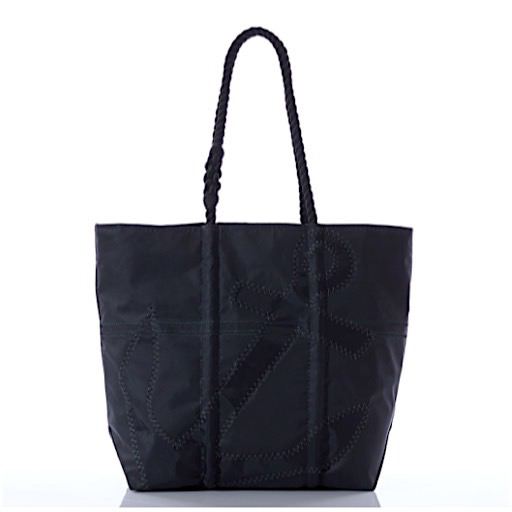 Sea Bags Black on Black Anchor Tote - Black Handle - Medium Zip Top