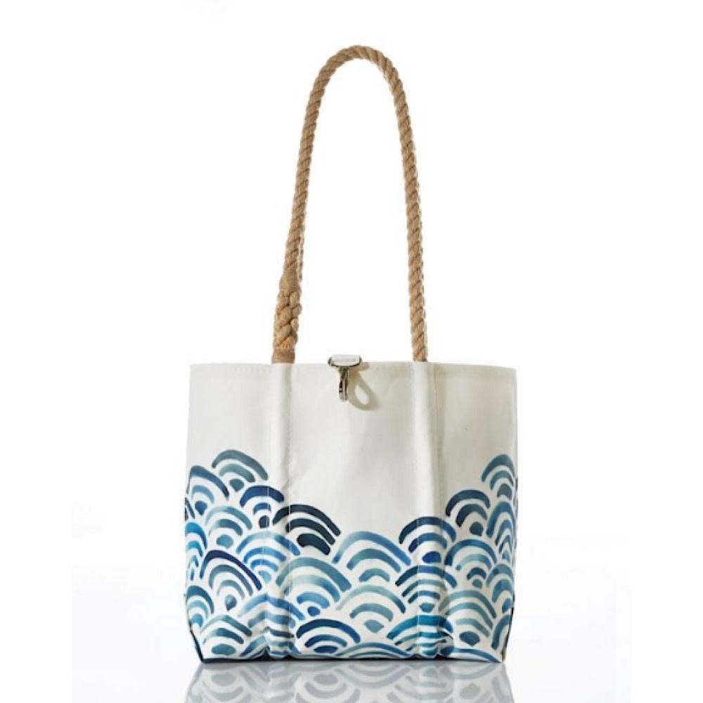 Sea Bags Sea Bags Watercolor Waves Handbag - Hemp Handles, Small with Clasp