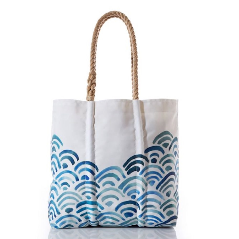 Sea Bags Watercolor Waves Tote - Hemp Handles, Medium with Clasp