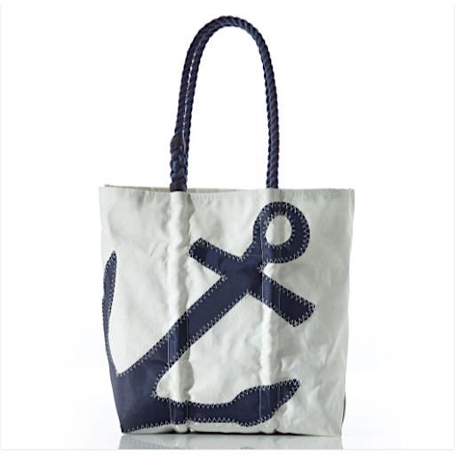 Sea Bags Diaper Bag- Navy Anchor - Navy Handles