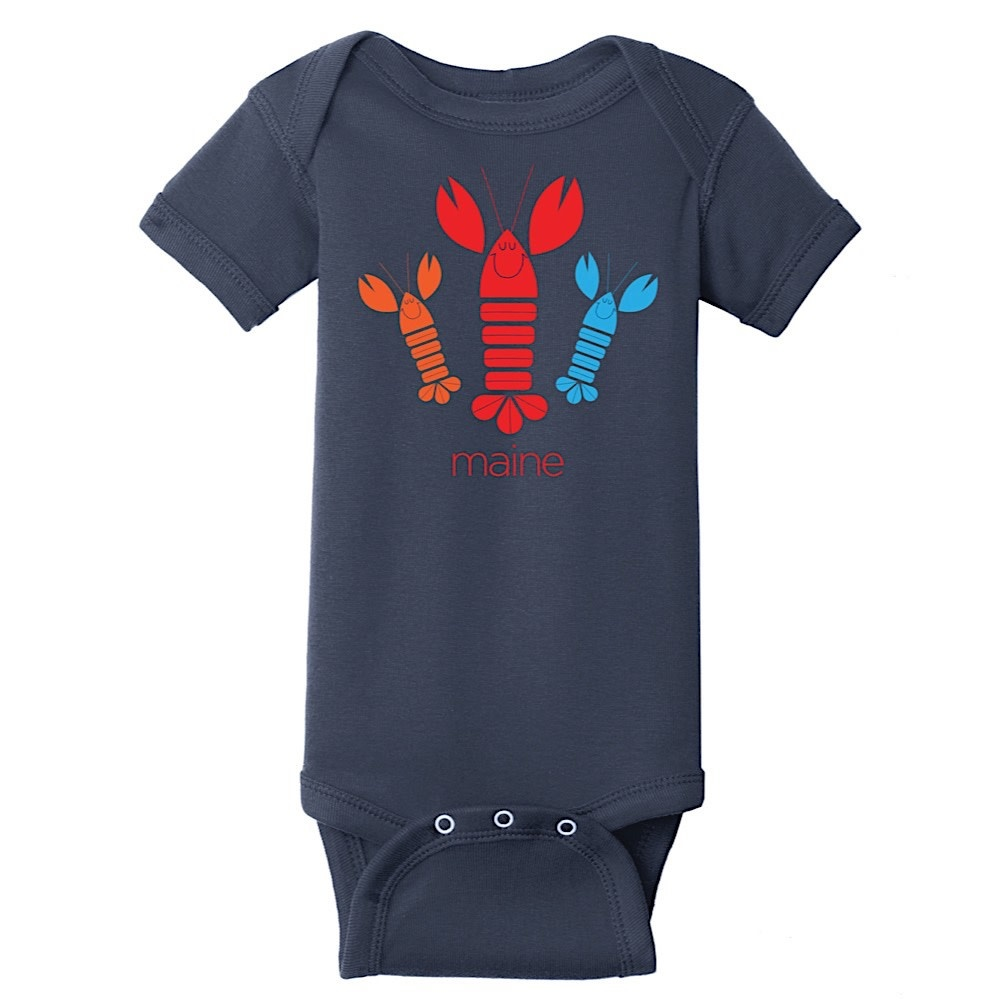 Woods & Sea Woods & Sea - Happy Lobster Onesie - Navy