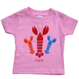 Woods & Sea Woods & Sea - Happy Lobsters Tee Mill Dyed - Light Pink