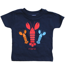 Woods & Sea Woods & Sea - Happy Lobsters Tee Mill Dyed - Navy