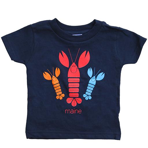 Woods & Sea Woods & Sea - Happy Lobsters Tee Mill Dyed - Navy