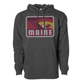 Woods & Sea Woods & Sea - Moose and Mountains Adult Hoodie - Dark Heather Grey