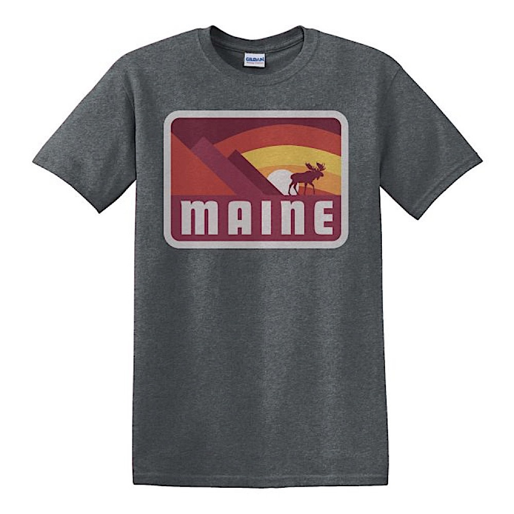Woods & Sea - Moose and Mtns - Adult T-Shirt - Dark Heather Grey