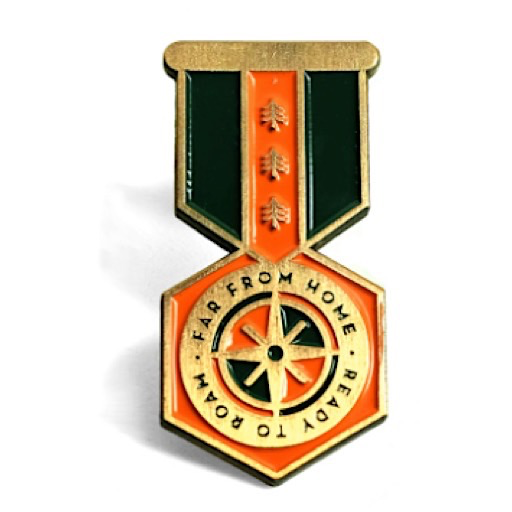 Lost Lust Supply Enamel Pin - Merit Badge Pin - Red/Green
