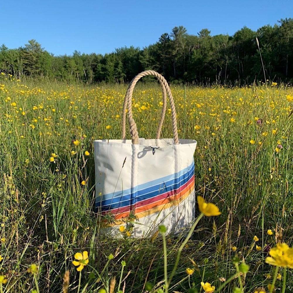 Sea Bags Custom Daytrip Society Retro Stripe Tote - Rainbow - Medium