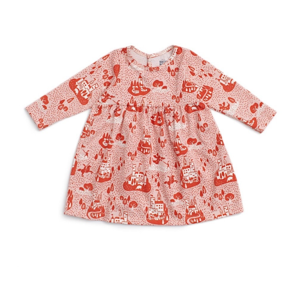 Winter Water Factory Geneva Baby Dress - Castles & Villages - Pink & Orange