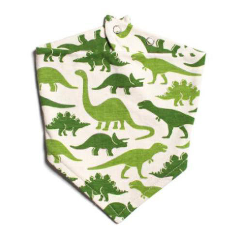 Winter Water Factory Kerchief Bib - Dinosaurs Green