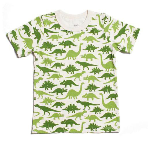 Winter Water Factory Short Sleeve Tee - Dinosaurs Green