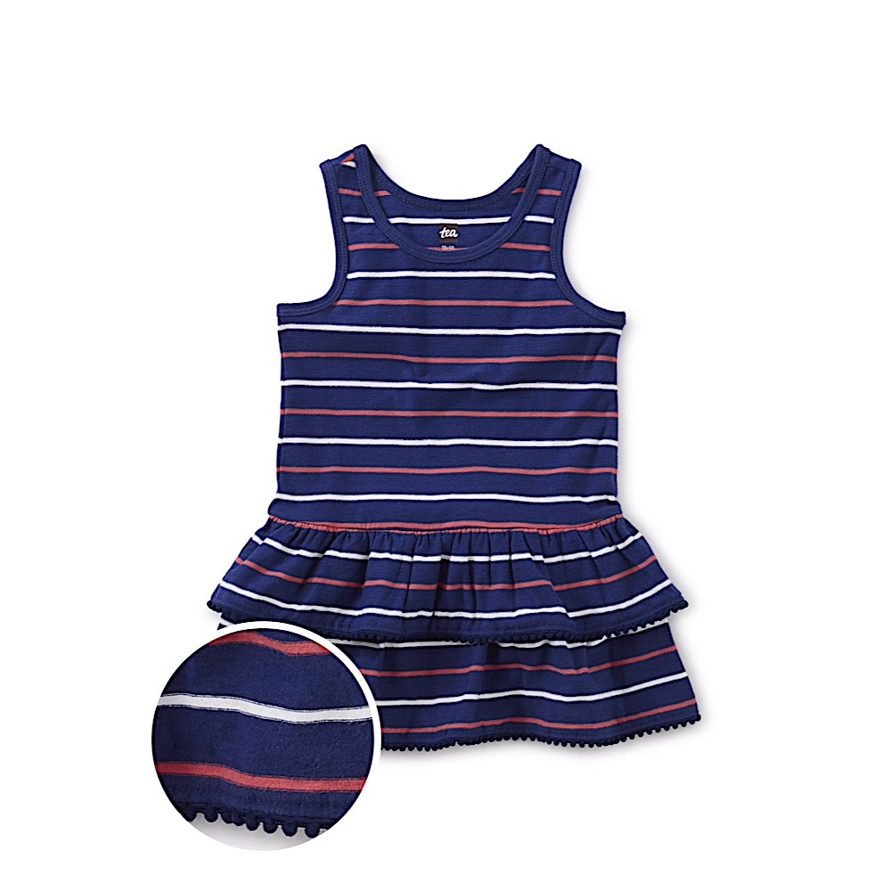 Tea Collection Tea Collection Pom Pom Trim Baby Dress - Nightfall