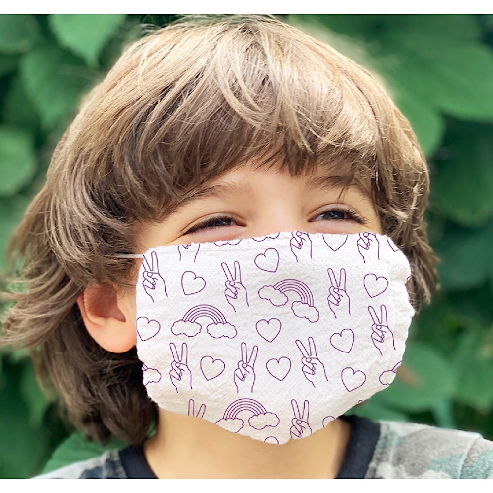Maptote Kids Face Mask - Peace & Love - Natural