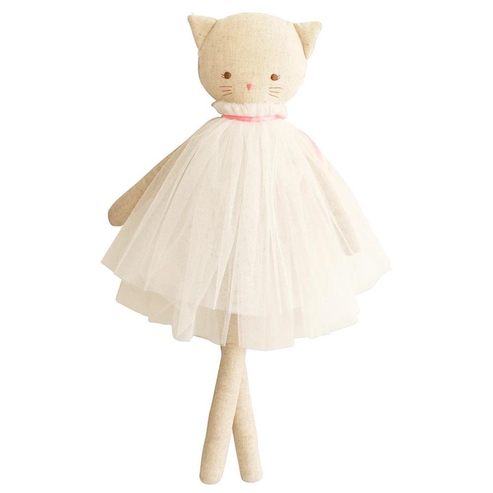 Alimrose Aurelie Linen Cat Doll - Ivory