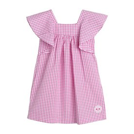 Smiling Button Smiling Button Flutter Dress - Pink Gingham Seersucker