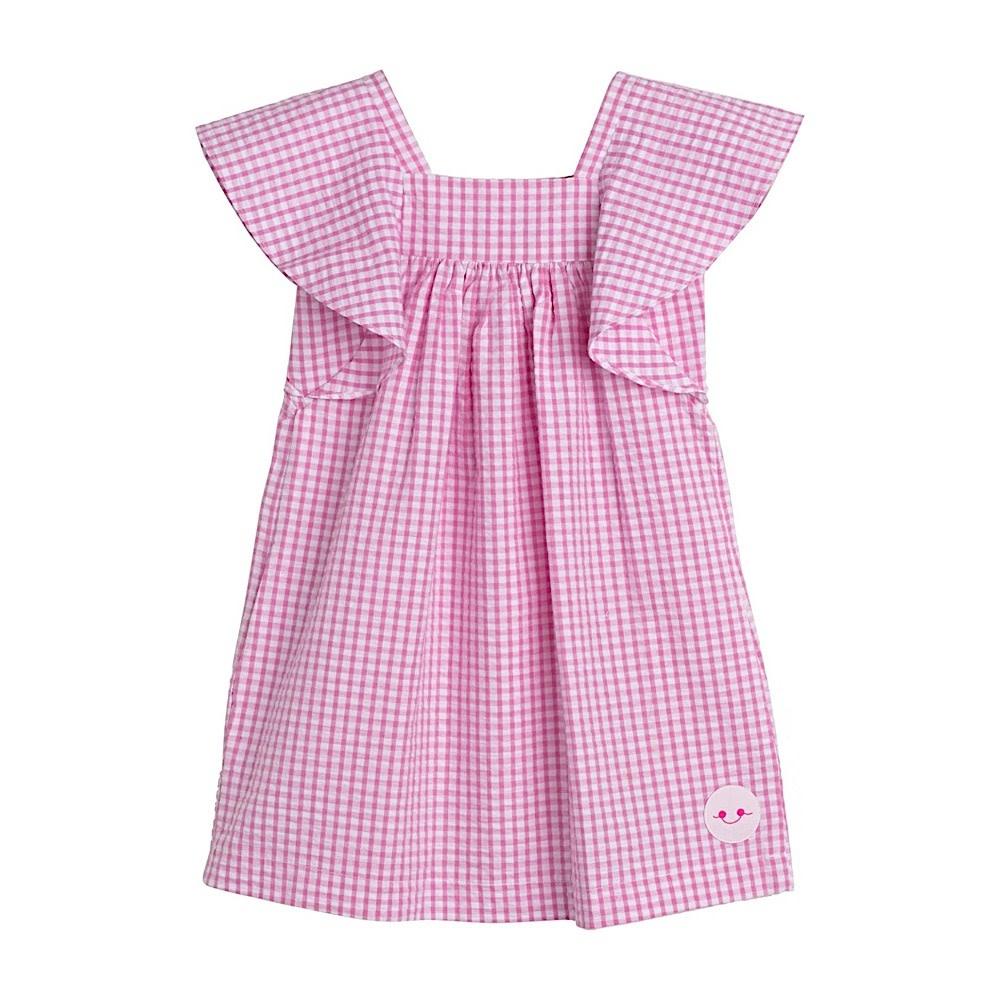 Smiling Button Flutter Dress - Pink Gingham Seersucker