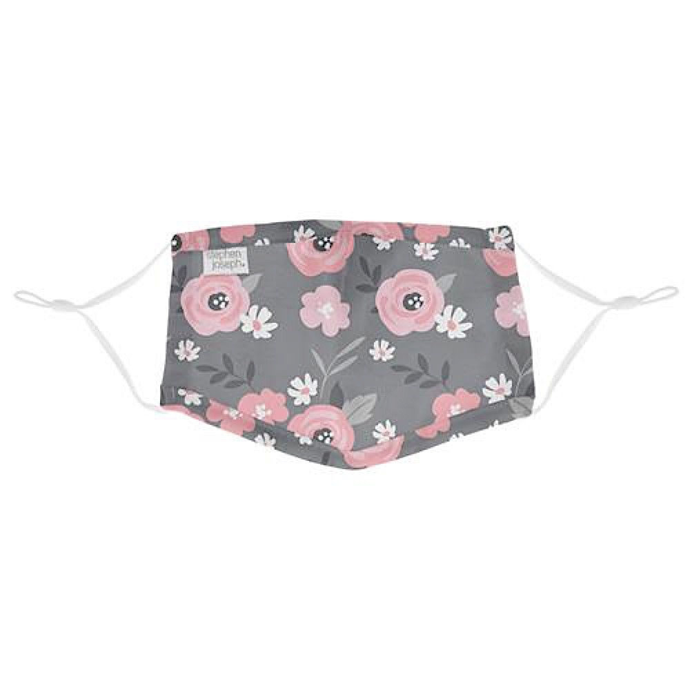 Kids Cotton Face Mask - Gray Floral