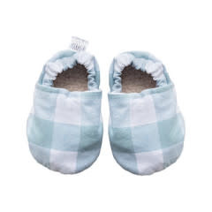 Two Little Beans Baby Booties - Grey Gingham