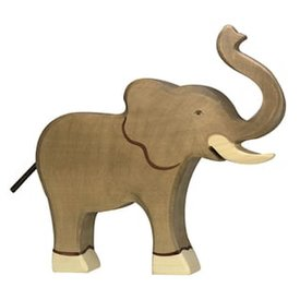 Holztiger Holztiger Wooden Elephant - Raised Trunk