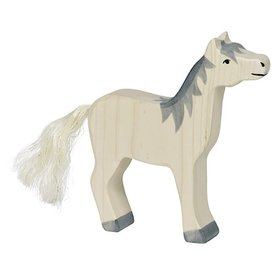 Holztiger Holztiger Wooden Horse - Head Raised, Grey Mane