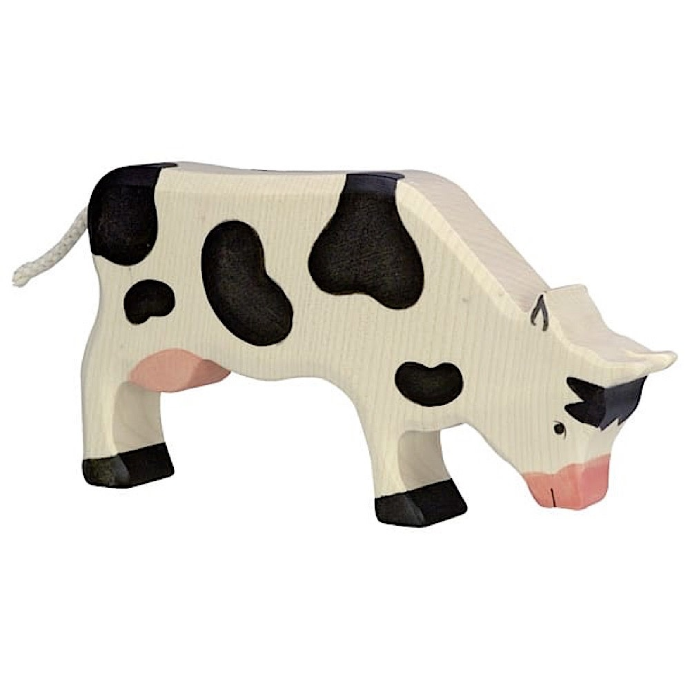 Holztiger Wooden Black Cow Grazing