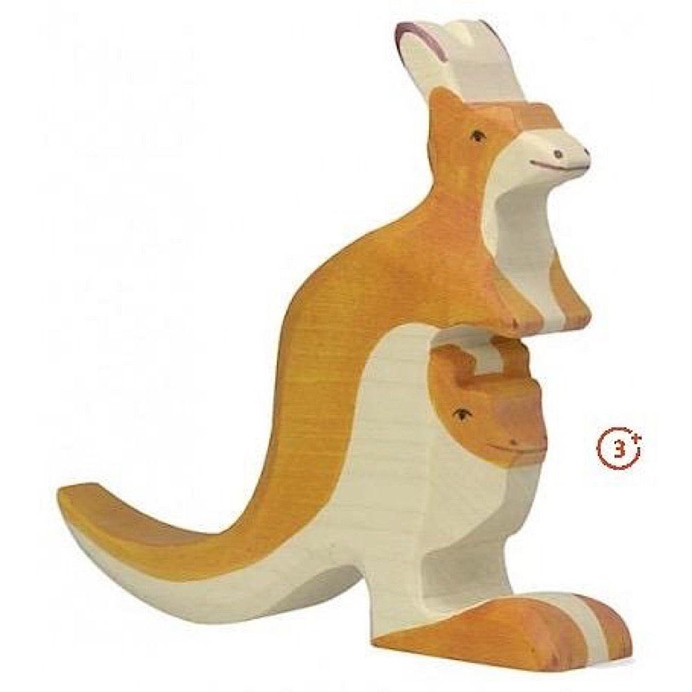 Holztiger Holztiger Wooden Kangaroo with Young