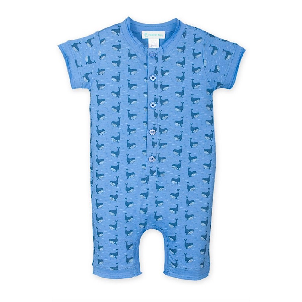 Feather Baby Henley Romper - Fin Whale on Cornflower Blue