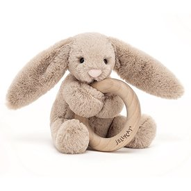 Jellycat Jellycat Wooden Ring Rattle - Bashful Beige Bunny - 5 Inches