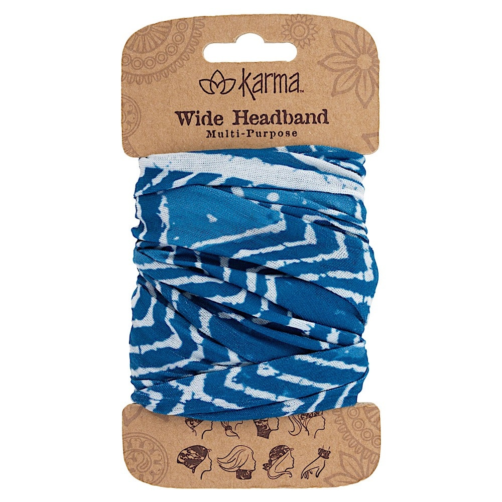 Karma Wide Headband - Blue Batik