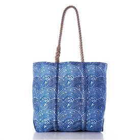 Sea Bags Sea Bags Tote - Liquid Blue Fish Scale - Hemp Handles - Medium